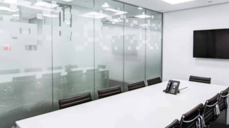 Office conference room with glass wall